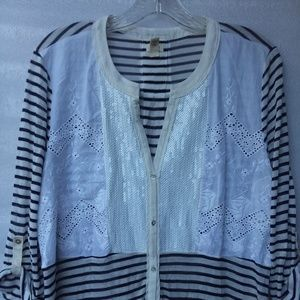 Tiny Blouse embroidered striped blk/wht sequins XL